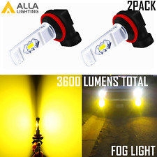 Alla Lighting LED Super Short H8 Fog Light|Cornering Bulb 3000K Bright Yellow,2x