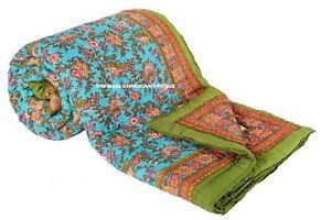 Hand Block Print Floral Kantha Quilt, Handmade Blanket Throw Jaipuri Rajai AU