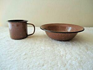 "Set Of 2 Swan Creek Brown Enamelware Items,1,Cup,1,Bowl "" GREAT FOR CAMPING """