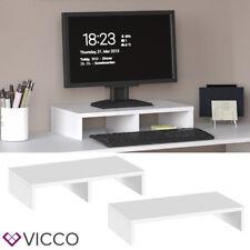 VICCO Monitorständer 50cm Weiß - Schreibtischaufsatz Bildschirmständer PC Laptop