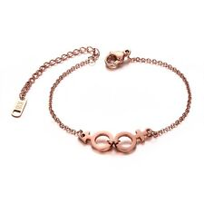17.5cm Stainless Steel Bracelet Women's 18K Rose Gold Charm Chain Bangle Jewelry