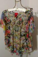 V Cristina Floral Angel Wing Blouse ~ Size M