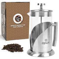 French Press Coffee Maker 32oz Large Insulated Double Wall Stainless Cafetiere
