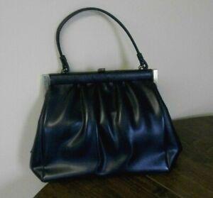 Vintage Single Handle Slouchy Dr Bag 50's-60's Handbag Navy Blue Satin Lined