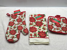 New listing Set 4 Christmas Poinsettia Kitchen Towel Oven Mitt Potholders New