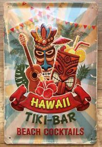 TIKI BAR HAWAII BEACH COCKTAILS , BLECHSCHILD 20 x 30 cm mit PRÄGUNG