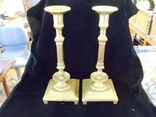 ANTIQUE PAIR BRASS POSSIBLY RUSSIAN CANDLE STICK HOLDER  IMPERIAL