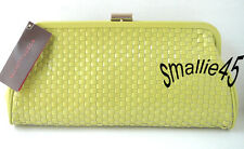 Elliott Lucca Citron Woven Leather Patent Clutch - NWT