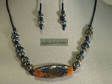 Caramel Blue Raku Pendant W /Handblown Blue / Green Metalic Necklace Set SALE