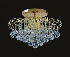 """NEW Beautiful 6-light CRYSTAL GOLD Mini-CHANDELIER Ceiling Fixture (D18"""" x H13"""")"""