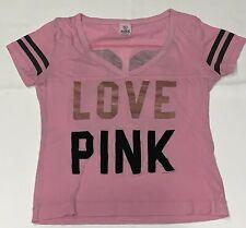Victoria's Secret PINK Womens Burnout Crop T-shirt Tee Size S V-neck Love Black