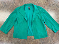 Chico's Travelers Women's Green 3/4 sleeve open front square textured jacket 0