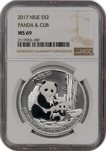 2017 NIUE SILVER 2 DOLLARS PANDA & CUB NGC MS 69 PROOF FINEST KNOWN**