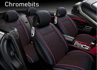 De Lujo Negro Rojo Cuero Sintético Ful Set Asiento Fundas para Audi A4 A6 A8 Q3