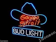 BUD LIGHT BUDWEISER GEORGE STRAIT Beer Bar Pub Real Neon Light Sign FREE SHIP