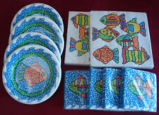 Nwt Pier 1 Fish Themed Paper Plates, dinner napkins, dessert napkins, matching