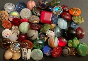 Over 50  Vintage Glass Buttons #5104