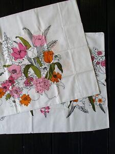Burlington House vintage 70s white floral pillowcase set two California King new
