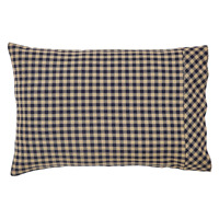 NAVY CHECK Pillow Case Set/2 Khaki Country Primitive Cotton Rustic Standard VHC