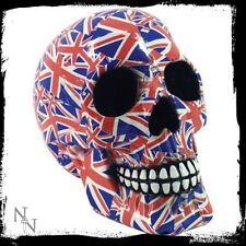 "UNION JACK SKULL Nemesis Now ""Patriot"" Ornamental Skull Gothic Fantasy -FREE P&P"