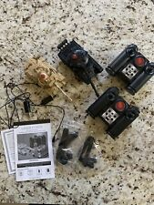 Lot of 2 Laser Force RC Assault Tanks With Remotes Black & Camo Tanks