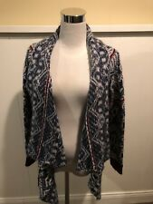 Freeway Draped Sweater Jacket SZ Small Asymmetrical Hem Geometric Print