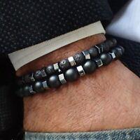 Herren Armband Elegant 2er Set Charm Lava Perlen Flexibel Schwarz Grau