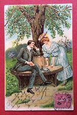 CPA. 1907. Couple. Gaufrée. Embossed. Dorée.