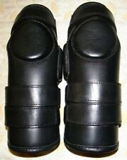 Horse Riding Real Leather Polo Knee Guards 3-Straps Black Geff Pride