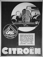 PUBLICITÉ DE PRESSE 1933 AUTOMOBILE CITROËN AVEC MOTEUR FLOTTANT