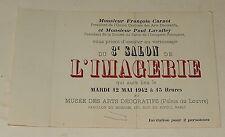 Invitation 3ème Salon de L'IMAGERIE 12 Mai 1942 - MUSEE des ARTS DECORATIFS