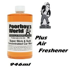 Poorboys Super Slick & Wax Shampoo 946ml Concentrated Extreme Suds Car Wash 32oz