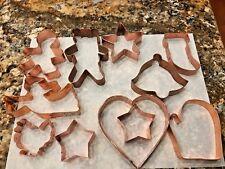 Lot 11 Large Copper Cookie Cutters Glove Bear Turkey Angel Stars Gingerbread Man