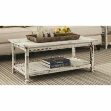 Coffee Table Rectangular Furniture Living Room Shelf Storage Home White Antique