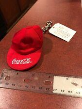 Vintage 1987 Coca-Cola Coke Textile Baseball Cap Keychain NEW FREE SHIPPING