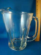 Pitcher Jug Ribbed Clear Glass 6 cup Water Beer Vintage @23
