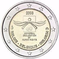 Belgien 2 Euro Münze Menschenrechte 2008 Gedenkmünze bankfrisch