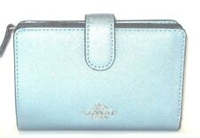 Coach Sky Blue Metallic Leather Medium Corner Zip Wallet F23256 New NWT$165