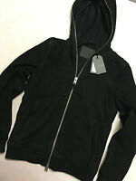 "ALL SAINTS BLACK ""BANNER"" SUEDE LEATHER JACKET HOODY COAT - XS S M - NEW & TAGS"