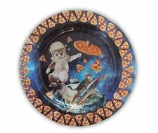 Cats and Pizza in Space Design Round Tin Ashtray 5 1/4 Inches Wide New