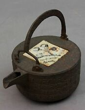 Japanese Iron Kettle Choshi with Shino ware lid signed by Chitose gama #B45