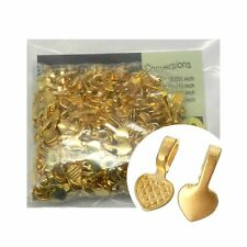 300 Glue on Heart Bails Pendant Hanger Bright Gold Plated 16x8mm