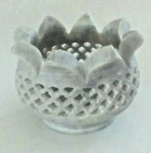 Hand Carved Soapstone Candle Holder.Intricate designs,Flower shape made in India