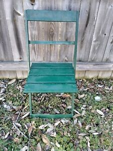 Vintage Chicago Cubs Wrigley Field Stadium Seat Folding Wood/Metal Chair 1920's
