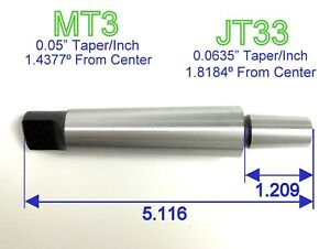 1pc MT3 Shank to JT33 Jacobs Taper Chuck Arbor w/Tang End Morse 3MT 33JT S