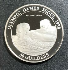 1988 ANTHONY NESTY OLYMPIC GAMES SEOUL 50 GUILDERS SURINAME SILVER BU UNC (MR)
