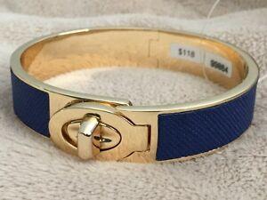 COACH Half Inch Hinged Saffiano Leather Turnlock Bangle Bracelet Blue NWT