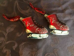 WATERFORD BLOWN GLASS CHRISTMAS ORNAMENTS  ICE SKATES (2)