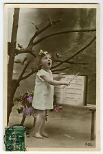 cir 1908 Children Child Cute Little GIRL SINGING TEACHER antique photo postcard
