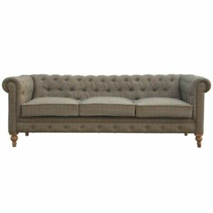 Chesterfield Sofa 3 Seater in Multi-Tweed